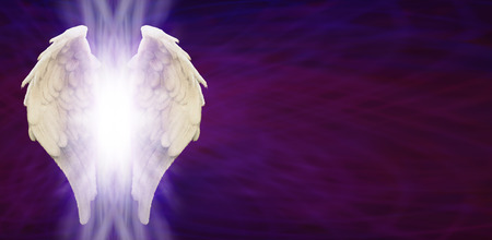 angel de la guarda: Angel Wings Banner Head on Purple Matrix Foto de archivo