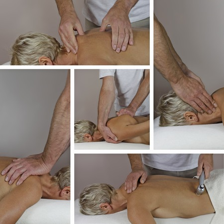 treat acupressure: Male Sports Massage Therapist Collage Stock Photo