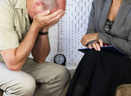 bereavement: Distressed patient in counseling session