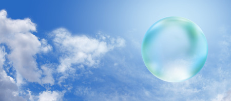 the biosphere: Solar Green Bubble on blue sky banner