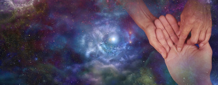 hocus pocus: Palmistry website header on night sky Stock Photo