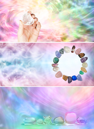 3 x Rainbow Crystal Healing website banners Stock Photo - 28684056
