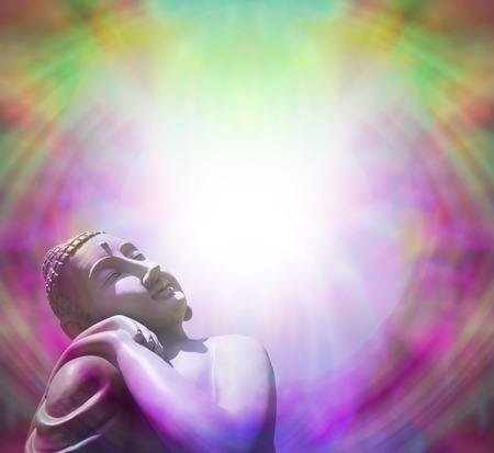 concept magical universe: Buddha tomando el sol en la luz - marco