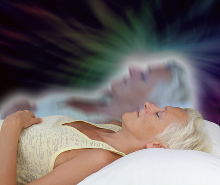 psychic: Female Astral Projection Experience Stock Photo