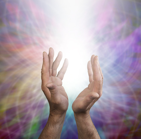 spirit new age: Male healing energy and rainbow matrix  Stock Photo