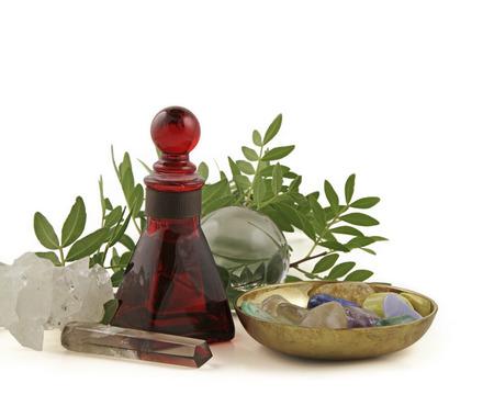 Kristallheilung, Kräutern und ätherischen Ölen Standard-Bild