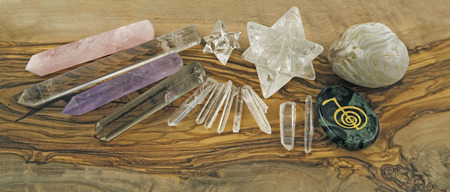 Selection of Crystal healer s tools Stock Photo - 29022508