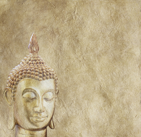 Budhha on Parchment Background Poster photo