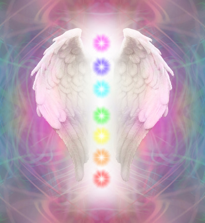spiritual background: Angel Wings and Chakras