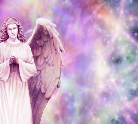 輝くエネルギー背景に守護天使 写真素材