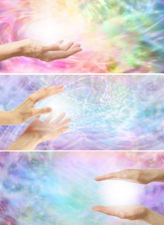 magnetismo: 3 x Guarire le mani di bianco un'energia arcobaleno colorato di energia bassa Archivio Fotografico