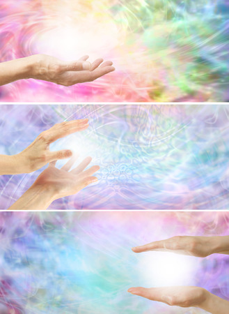 3 x Healing hands with white energy a on rainbow colored energy background  photo