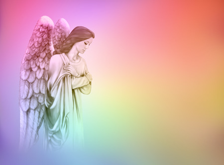 praying angel: Angel on graduated rainbow colored background