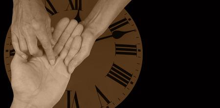psiquico: Time Will Tell Quiromancia Web Banner Foto de archivo