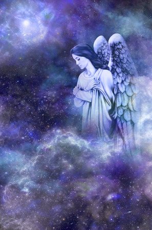 universal enlightenment: Guardian Angel on deep space blue background   Stock Photo