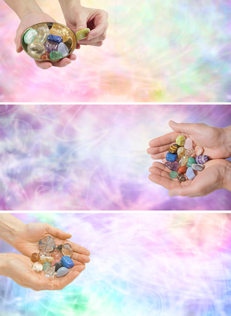 Three different Crystal Healing Website Banner    Stock Photo - 29898033