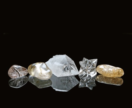 crystal therapy: Healing Crystals on Black Background