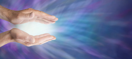 source of light: Healing hands and blue energy website banner