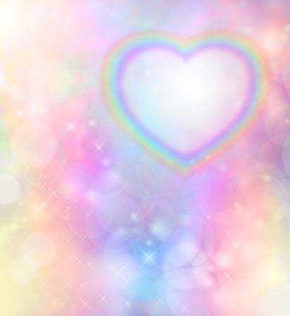 虹の背景のボケ味にレインボー ハート