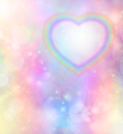 Rainbow heart on rainbow bokeh background photo