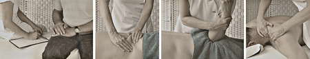sports massage: Estilo vintage Masaje Sitio Web Banner Foto de archivo