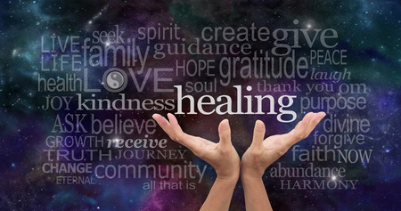 sound healing: Infinite Healing Words Stock Photo