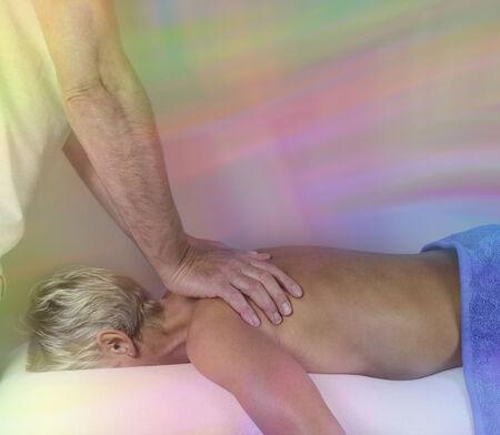 energy healing: Energy transfer during healing massage
