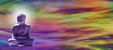 Wide banner with meditating Buddha in lotus position in left hand side and a colorful wave motion energy field