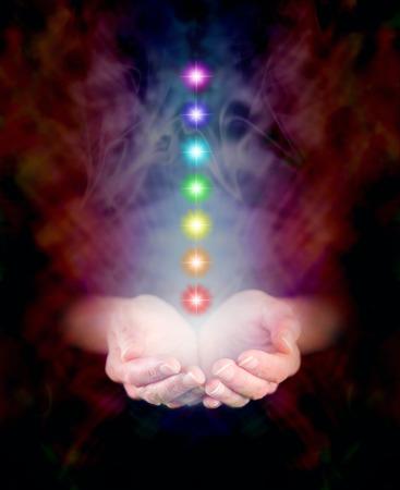 aura energy: Sette Chakra galleggianti in Healing Hands