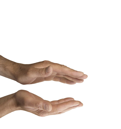 self awareness: Healers parallel hands on white background Stock Photo