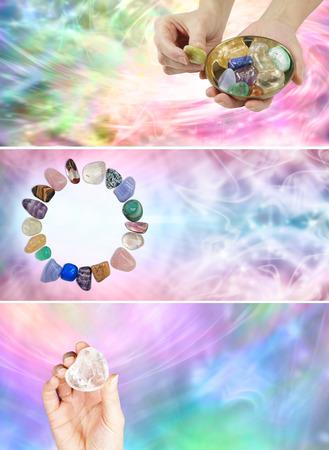 crystal healing: 3 diversi banner guarigione di cristallo