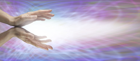 holistic: Beaming Reiki Energy Stock Photo