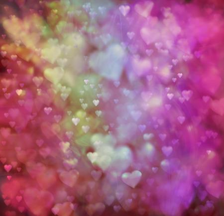 여러 가지 빛깔 된 사랑의 하트 배경