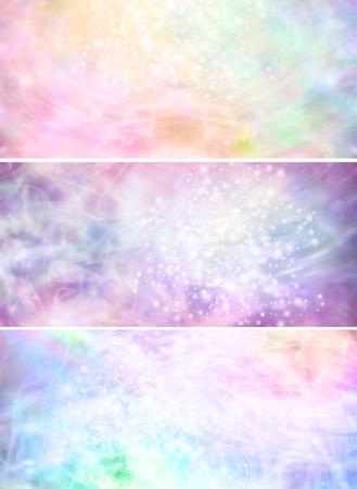 霧の輝くパステル カラーの背景バナー x 3