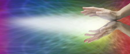 Beaming Reiki on a Rainbow Matrix Background Stok Fotoğraf - 32787879