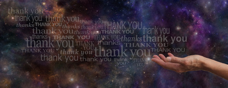thanking: Thanking the Universe Website Banner Stock Photo