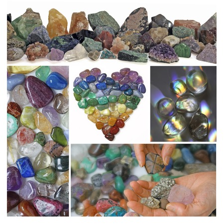 holistic healing: Collage of Healing Crystals Stock Photo