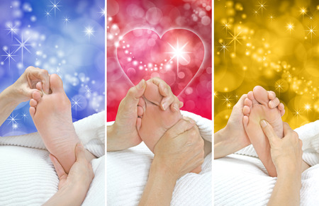 treat acupressure: Three Reflexology Gift Voucher Background Panels Stock Photo
