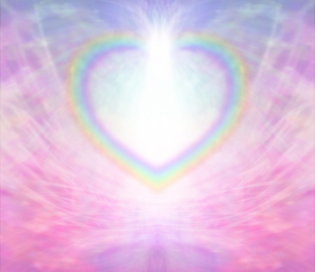 Rainbow heart border light burst background