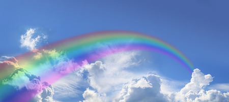 cirrostratus: Rainbow on wide blue sky Stock Photo