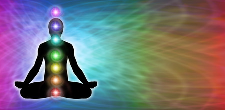 aura energy: Rainbow Chakra Meditation Website Banner Stock Photo