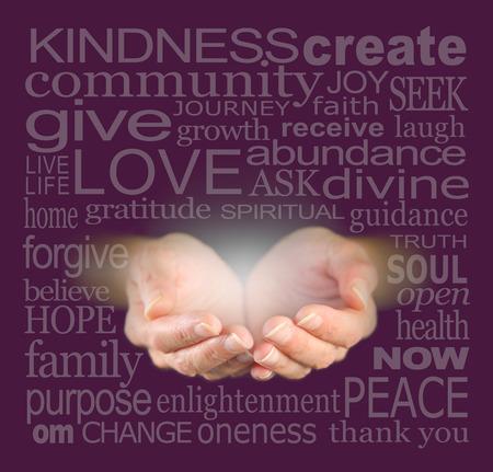bondad: Manos ahuecadas necesitadas y palabras significativas relevantes