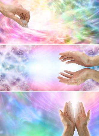 3 x healing hands website banners photo