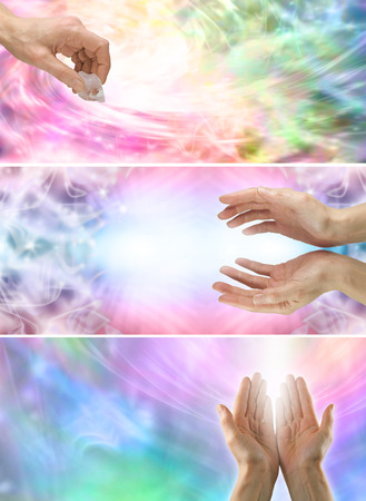 reaching hands: 3 x healing hands website banners