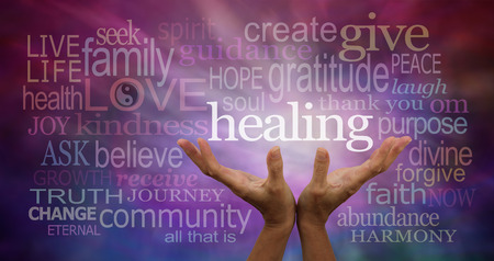 sound healing: Healing Words Stock Photo