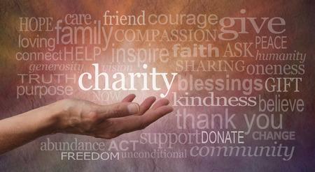 Charity Word Muur Stockfoto