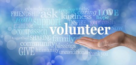 altruismo: Solicitud de bandera voluntarios bokeh
