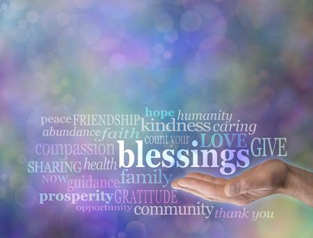 prosperidad: Cuenta tus bendiciones Nube de la palabra en el fondo de Bokeh