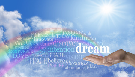 blue sky thinking: Blue sky and rainbow Dare to Dream word cloud