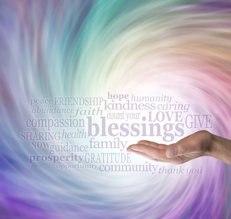 heal care: Count Your Blessings Word Cloud on Energy Vortex Background